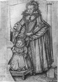 Description: Elizabeth Stuart, Electress Palatine (later Queen of Bohemia) and holding the leading strings of her son Frederick Henry, pen and ink over graphite on vellum, The British Museum Date 1615 per source Elizabeth I, Princess Elizabeth, Penguin Books, Exeter, Sophia Of Hanover, Jaime I, Anne Of Denmark, Holy Roman Empire, England