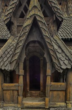 Norwegian Stave Church - Borgund - Stave churches in Vik and Lomen, Norway by Henry Peters. Amazing Architecture, Architecture Details, Casas Tudor, Viking House, Chapelle, Place Of Worship, Doorway, Abandoned Places, Windows And Doors