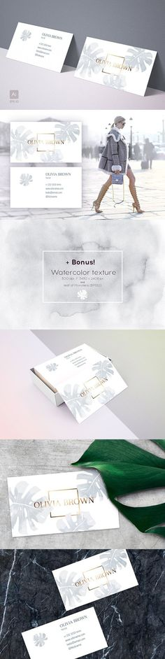 Feminine business card with Monstera. Business Card Templates