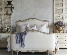 A Beautiful Shabby French Inspired Bedroom.  Decor French Country, white linen and bleached wood bed gorgeous