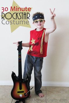 Need a last minute halloween costume for your little guy? I've got 15 great, inexpensive DIY costumes for boys can can be put together last minute. Costume Année 80, Rocker Costume, Boy Costumes, Woman Costumes, Mermaid Costumes, Pirate Costumes, Couple Costumes, Group Costumes, Adult Costumes