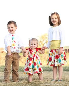 Make some quick Easter outfits for your kiddos.....little boy tie, shirred waistband skirt, and shirred dress with tie bows.  Matching optional! ;)  www.makeit-loveit.com