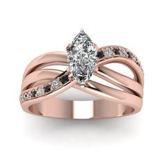 Rose Gold Interwoven Clearance Rings with Black Diamond in 14K Rose Gold exclusively styled by  Fascinating Diamonds