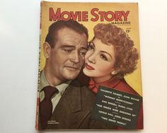 Movie Story Magazine June 1946 - Cover John Wayne and Claudette Colbert - Vintage Movie Magazine - Inside Lucille Ball & Veronica Lake by BagBagSydVintage on Etsy