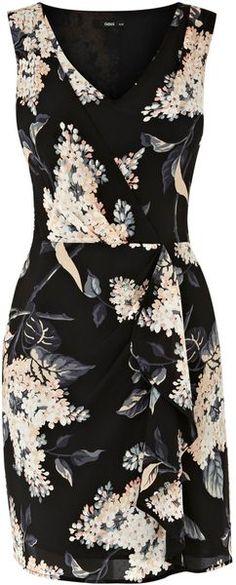 Oasis Silk Botanical Tuck Dress