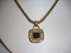 Vintage 26 inch nekcalce with onyx by PaganCellarJewelry on Etsy, $12.99
