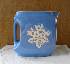 Harker pottery   1930s Blue Cameoware Water Pitcher by Harker Pottery Co USA