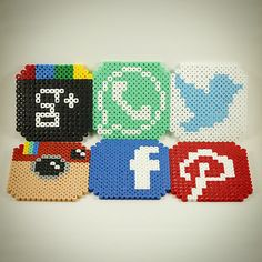 Social network coasters hama beads by la_tienda_de_logan