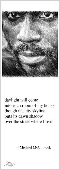 Tanka poem: daylight will come -- by Michael McClintock. Drawing by Karen McClintock.  Black History Month Feb. 2017.
