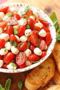 Super Simple Caprese Salad - A Southern Soul Tomato Mozzarella Salad, Tomato Caprese, Caprese Pasta Salad, Tomato And Cheese, Grape Tomato Salad, 500 Calories, Caprice Salad, Olives, Pesto