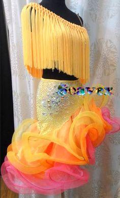 Women Ballroom Latin Rhythm Rumba Salsa Cha Dance Dress US 10 UK 12 Yellow Pink #NIL