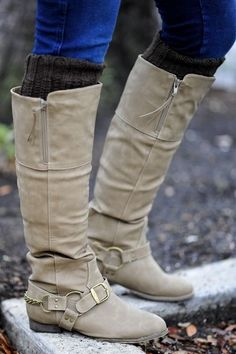 Cute womens beige leather slouch knee-high riding boots with a cute buckle and zipper! Wear with blue jeans and brown socks, skirt, or dress for fall, winter, and spring 2013 - 2014 ♥ Get this look at @SPARKTREND for $40, click the image to see! #boots #shoes #fashion