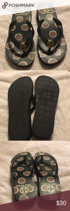 Tory Burch Wedge Flip flops. Cute classy wedge with petite double T on the strap. Worn approximately 5 times. Sold in whole sizes only. Needed a 6.5 but had to order a 6. Fit worked fine. Cute and could be worn with your everyday summer style. Tory Burch Shoes Wedges