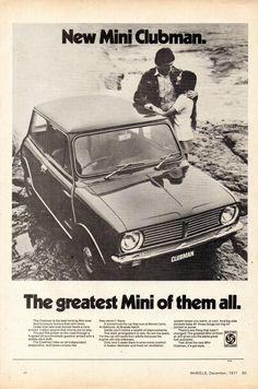Mini Clubman, Mini Cabrio, Mini Coopers, Classic Mini, Classic Cars, Classic Auto, Australian Cars, Jaguar E Type, Car Advertising
