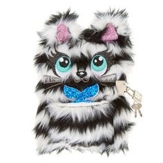 Striped Plush Kitty Lock and Key Diary Kawaii Jewelry, Cute Jewelry, Diy Back To School Supplies, Baby Doll Nursery, Claire's Accessories, Cute Notebooks, Journals, Girls Diary, Cheap Flower Girl Dresses