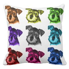 schnauzer art pillows