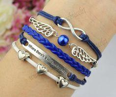 Infinity bracelets wings and heart bracelet as by themagicbracelet, $6.99