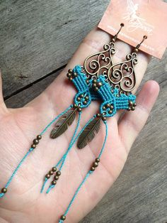 Micro macrame earrings teal turquoise feather Hippie chic elven earrings