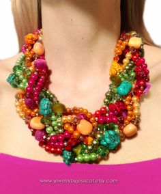 GRAND TWISTED Statement Necklace Pink Magenta by JewelryByJessicaT, $125.00
