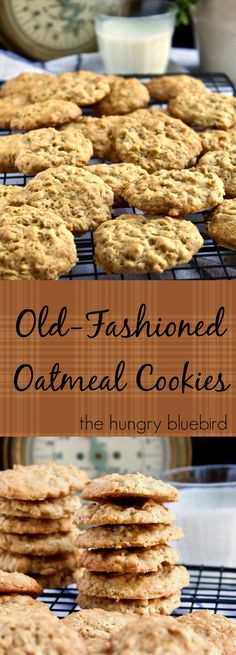 Old-Fashioned Oatmeal Cookies, old-school recipe handed down generations. Slightly crispy and chewy, the quintessential oatmeal cookie. Grab a glass of milk. Old-fashioned oatmeal cookies, slightly crispy and chewy and just like grandma baked. Old Fashioned Oatmeal Cookies, Homemade Oatmeal Cookies, Oatmeal Cookie Recipes, Oatmeal Honey Cookies, Small Cookies Recipe, Quaker Oatmeal Cookies, Oatmeal Scotchies, Oatmeal Yogurt, Oatmeal Muffins