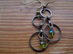 Antique Brass Double Hoop Czech Green Glass Dangle Earrings-Forest. $16.00, via Etsy.
