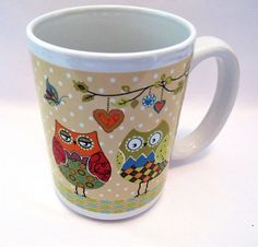 Owls And Butterflies Coffee Cup 15 oz Stoneware Mug #ClassicSolutions