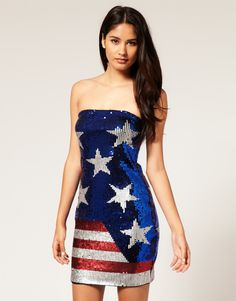 Buy ASOS Sequin Bandeau Dress in Stars and Stripes at ASOS. Get the latest trends with ASOS now. Patriotic Dresses, Patriotic Outfit, Patriotic Clothing, American Flag Dress, American Girl, American Fashion, Bandeau Dress, Sequin Dress, 4th Of July Swimsuits