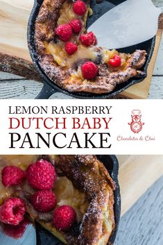 Lemon Raspberry Dutch Baby Pancake | Chocolates & Chai | Recipes #dutchbaby #pancake #recipe
