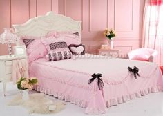 ... And Pink Princess Bowtie Ruffled Girls Lace Bedding-Girls Bedding Sets