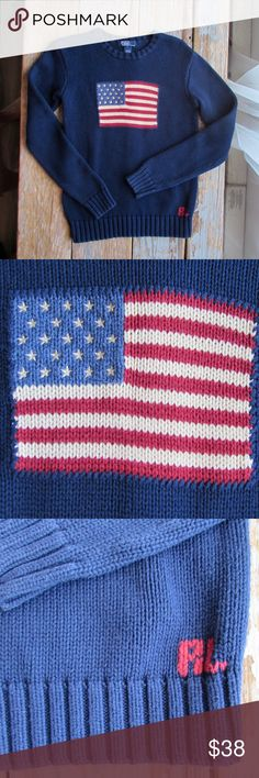 Polo Ralph Lauren Flag Sweater EUC. This is a stunning heavy weight cotton sweater. American flag intarsia on front chest. RL cross stitch on the hemline. Ribbed neckline, cuffs, and hemline. This is unisex. It can also be worn by an xs/s adult. Polo by Ralph Lauren Shirts & Tops Sweaters