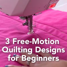 The secret to free-motion quilting: Forget perfection! (Oh, and start with one of these three designs from the Midnight Quilt Show.) For more how-tos click through to check out Angela's classes! - 3 Free-Motion Quilting Designs for Beginners Machine À Quilter, Machine Quilting Patterns, Sewing Patterns Free, Beginner Quilt Patterns Free, Machine Embroidery, Machine Quilting Tutorial, Quilting Stitch Patterns, Quilt Stitching, Quilting For Beginners