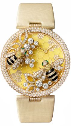 Bee timepiece, from Cartier. From the diamond-encrusted setting to the delicately bejewelled bee, it's the last word in luxury for your wrist. Bee Jewelry, Insect Jewelry, Jewelry Accessories, Jewellery, Bling Jewelry, Bling Bling, Bees Knees, Beautiful Watches, Beautiful Life