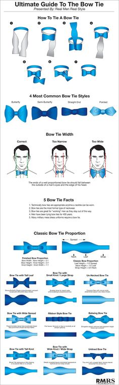 Ultimate Guide to Bow Ties (personally I prefer a necktie, but bow ties have their place)