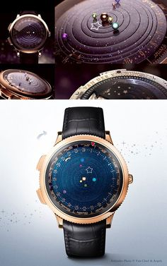 Midnight Planétarium is an incredible timepiece that features six bejewelled planets in our solar system accurately rotating around our Sun. The watch was created by Van Cleef & Arpels in partnership with Christiaan van der Klaauw.