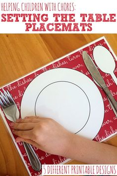 A handy printable placemat that will make setting the table easy for children of any age. 5 different designs to choose from. Montessori, Kids Learning, Learning Activities, Teaching Kids, Printable Designs, Printables, Manners For Kids, Chores For Kids, Practical Life