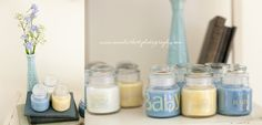 Easy and Inexpensive Shower Favors: WalMart $1 candles, peel off labels, apply clear back scrapbooking stickers.