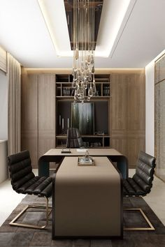 Office Design - sophisticated and luxurious, and emanates stability and wealth. Various hues of warm brown color create an atmosphere of comfort and reliability. Touches of gold and crystal.