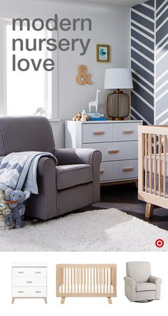 Create a modern, soothing nursery for you and your baby with a few key pieces. Start with furniture that can be used much longer than just the baby years, like the Babyletto Scoot 3-in-1 Convertible Crib and coordinating Scoot 3-drawer Changer Dresser. Add the comfy, cozy Delta Children upholstered glider, perfect for nighttime feedings and story time. Then personalize the space by adding elements you love, like wall décor, lamps and more.