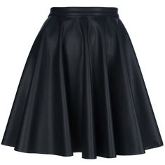 AMEN circle skirt ($252) ❤ liked on Polyvore featuring skirts, bottoms, saias, faldas, faux leather skater skirt, high waisted faux leather skirt, black knee length skirt, high waisted flared skirt and black faux leather skirt
