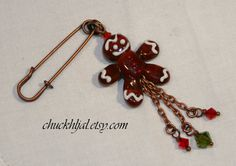 Gingerbread Man Lampwork DeSIGNeR Copper Pin by chuckhljal on Etsy, $30.00