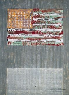 #JasperJohns Working proof for Flags Ii,  1967-70, Unique Lithograph with chalk & gouache additions, 33 3/4 x 25 1/16 inches,  Universal Limited Art Editions, West Islip, New York, Collection of The Museum of Modern Art, New York,  © 2012 Jasper Johns/Licensed by VAGA, New York