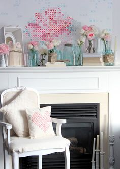 Cross Stitch Painted Valentine Mantel Mural and Painted Cross Stitch Little Valentine Pillow, both created by @Lucy Kemp (Craftberry Bush).