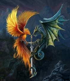 Phoenix and Dragon are the two of the most powerful symbols of success and prosperity in Chinese mythology. In Feng Shui, they are considered to be the ultimate symbol of love and marital joy. Phoenix Artwork, Phoenix Wallpaper, Phoenix Images, Dragon Artwork, Fantasy Kunst, Dark Fantasy Art, Mythical Creatures Art, Fantasy Creatures, Tattoo Dragon And Phoenix