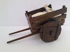 Diy Popsicle Stick Crafts, Wood Cart, Miniature Donkey, Yard Ornaments, Miniature Furniture, Wheelbarrow, Miniture Things, Diy Wood Projects, Diy Woodworking