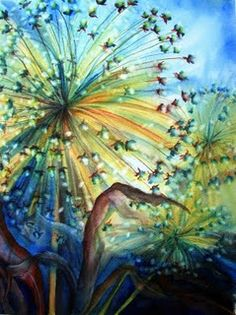 Dandelion Lights watercolor painting