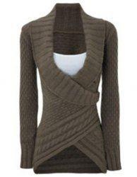 Chic Turn-Down Neck Long Sleeve Asymmetrical Sweater For Women (DARK KHAKI,M) | Sammydress.com Mobile