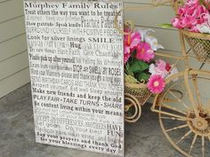 Typography Word Art Sign, We Do Sign, In Our Home Sign, Subway Bus Roll, House Rules, Family Rules, Menu, Lyrics, Music, Vows.  Gift Sign.
