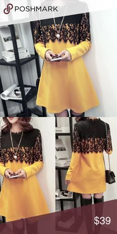 """New Year 🎄 Yellow Lace winter dress Fitted style, great match with long boots or leggings                                                               🌹🌹.  bust/shoulder/length US XS.   33""""/15.4""""/31"""" US S.     34.5""""/15.7/31.5"""" US M.    36""""/ 16.1""""/31.8"""" US L.     37.8""""/16.9""""/32.3"""" US XL    39.4""""/17.7""""/32.6"""" Dresses"""