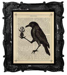 Edgar Allan POE Art Print  Crow Raven holding by BlackBaroque