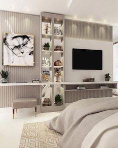 Home Interior Apartment Modern Luxury Bedroom, Luxury Bedroom Design, Master Bedroom Design, Luxurious Bedrooms, Home Interior Design, Master Suite, Bedroom Tv Wall, Bedroom Decor, Bedroom With Tv